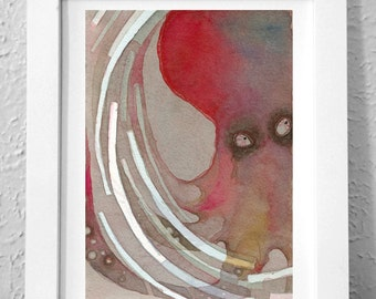 Sly Octopus Print, On Cotton Watercolor Paper, Sea Animal Art Print, Curio 050