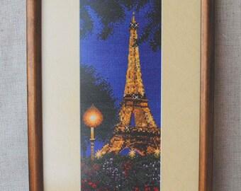 Romantic art Eiffel tower framed embroidery Paris Decor navy blue handmade Embroidered decor wall decor office decor gift for couple ooak