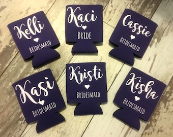 Wedding Can Cooler, Wedding Cozies, Bridesmaid Coolers, Beer Sleeves, Bride and Groom Can Insulators, Wedding Coolies, Wedding Favors, Bride
