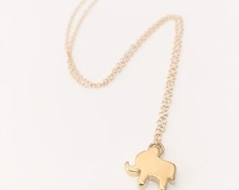 Gold Elephant Necklace, Daint Elephant Necklace, Gold Boho Charm Necklace, Delicate Gold Necklace, Tiny Elephant Necklace, Lucky Elephant