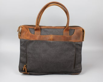 Leather Canvas Portlolio Bag - Grey