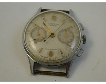 Russian made strela kosmonaut vintage chronograph watch serviced and ready to wear