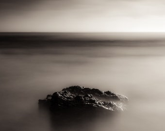 Rock in Seascape, Quality Canvas Giclee Print, Gallery Wrapped Canvas Art