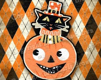 Retro Halloween Cat Jack O Lantern Clipart Vintage Style Download Pumpkin clip art Black cat