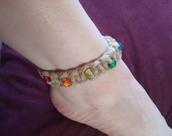 Hemp anklet with rainbow beads