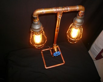 Copper steampunk table lamp