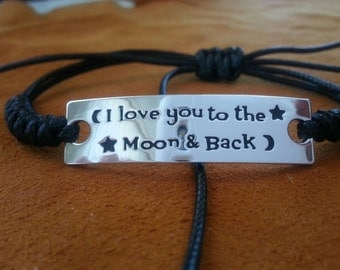 I love you to the moon and back adjustable bracelet