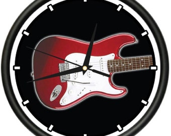 Electric Guitar Wall Clock Stratocaster Band Music
