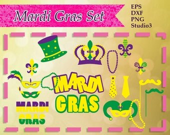 Mardi Gras Svg, Studio3, png, dxf, eps Silhouette and Cricut Cut files,  SVG Mardi Gras, Commercial use, Instant Download