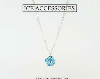 Swarovski Aquamarine Solitaire Crystal Pendant. March Birthstone.