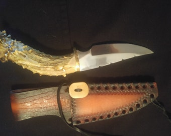 No 3 Hand made deer antler knife with leather sheath