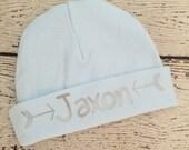Newborn boy knit name hat.newborn boy take home hospital hat.newborn photo prop.blue and silver arrow baby boy hat.baby boy personalized hat