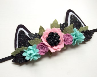 Mini Felt Cat Kitten Ear headband - Pink, icy blue, and lavender flowers - black glitter and green leaves