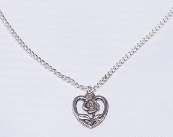 Women's Vintage Rose & Heart Open Pendant Silver Necklace