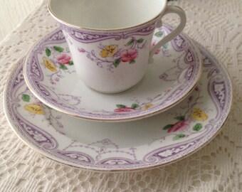 Lilac teacup, saucer and cake plate set