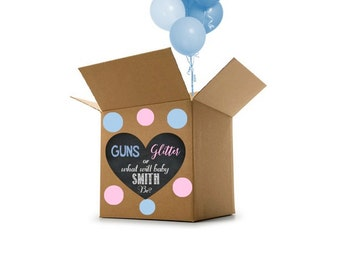 Guns or Glitter Gender Reveal Decor - Box Heart - Gender Reveal Idea - Gender Reveal Decoration - Gender Reveal Custom Name Digital File