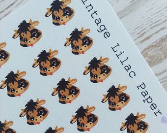 50 Cute Cow Planner Stickers
