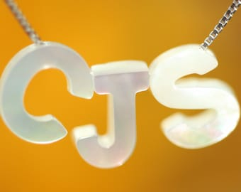5pcs Natural Shell Letters, Capital Letter charm, hand carved English Letters