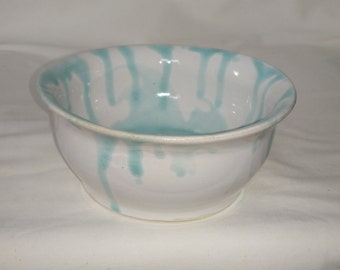 small bowl with white/ blue glaze