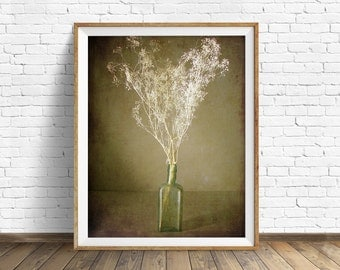 """photography, flowers, floral, instant download art, instant download printable art, farmhouse chic, nature, rustic, art - """"The Green Bottle"""""""