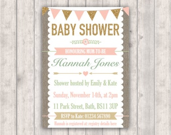 PRINTABLE Digital File - Personalised Baby Shower Invitation - Gold and Blush Bunting - Rustic Burlap Hessian Background - 5x7 or 4x6 Invite