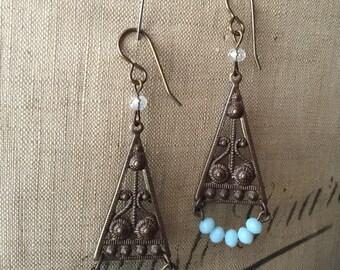 Blue Beaded Brass Earrings