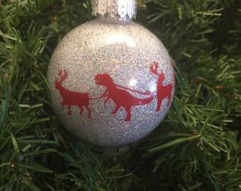 Reindeer T-rex glitter ornament