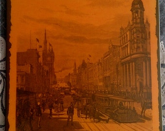 Melbourne Vintage. Old Melbourne Victoria Australia Print, Early Laminated Print of Collins Street (Looking East)  on Customwood ROP0253