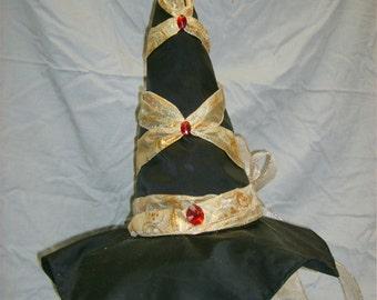 Glam Black Satin Witch's Hat