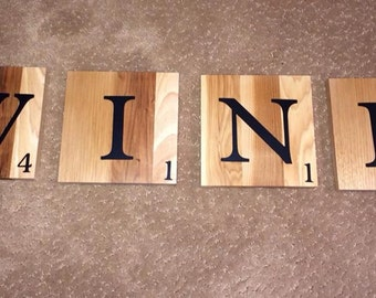 Wine Scrabble Tile Wall Sign-Hickory wood