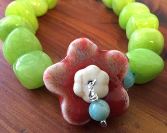 Green Apple Flower Bracelet