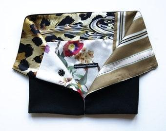 Neck warmer in silk and wool-silk patchwork scarf Scarf-Shawl-Collar silk