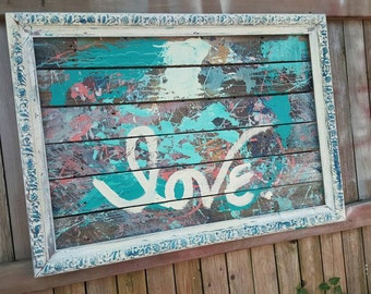 Rustic LOVE painting by Q