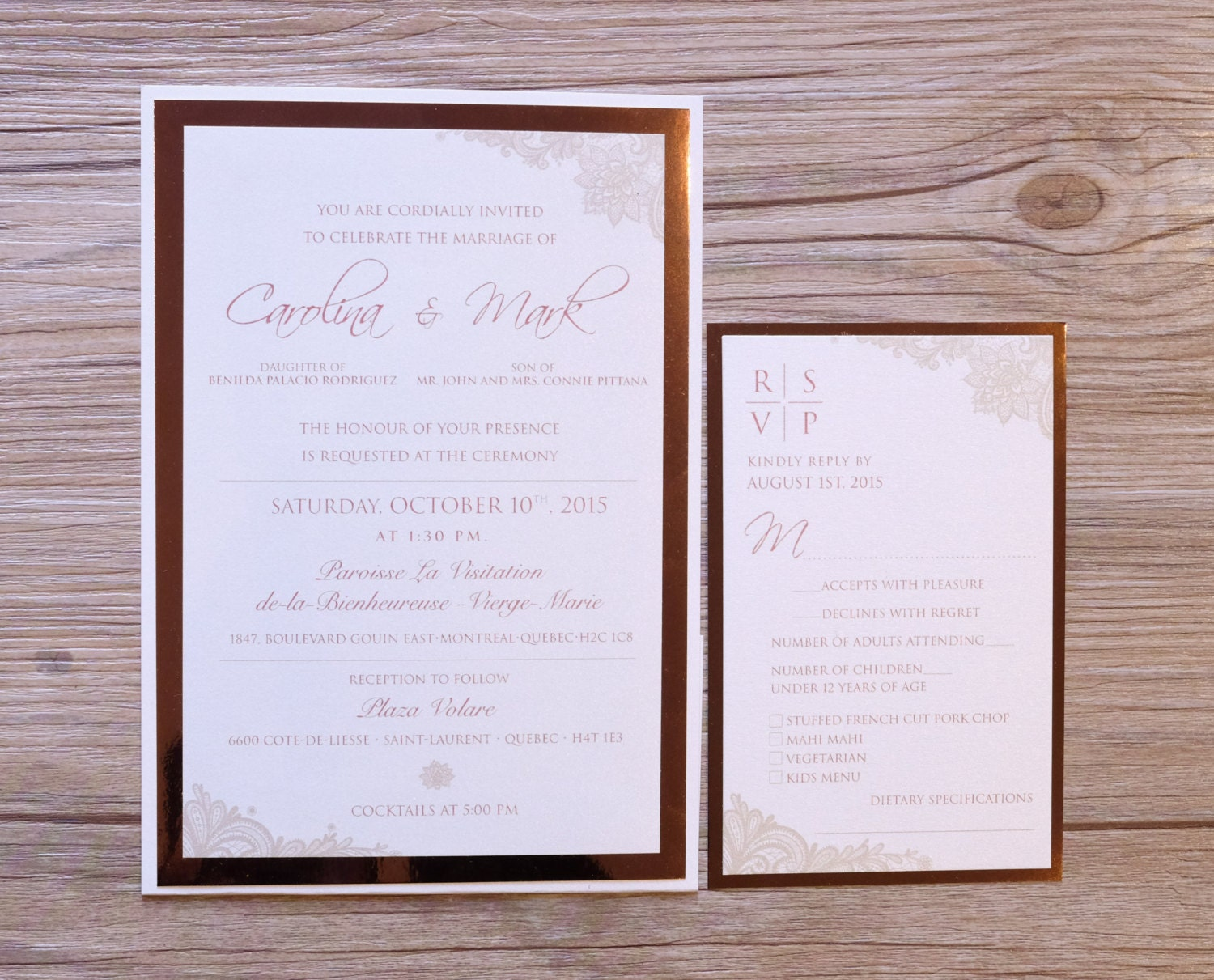 zoom - Rose Gold Wedding Invitations