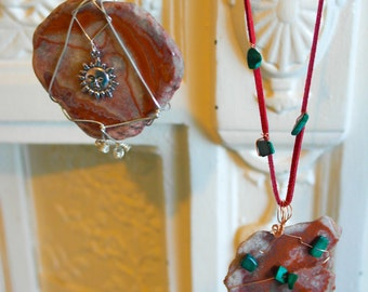 natural agate stone necklaces