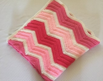 Ready to Ship Pink Ripple Baby Blanket