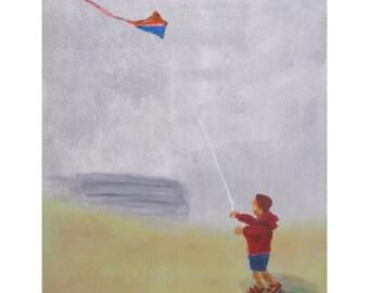 Joseph and the Kite, Coastal Cornwall, Limited Edition Art Print