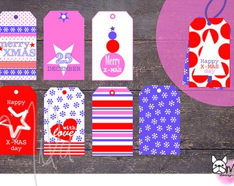 Red and Violet CHRISTMAS PRINTABLE tag for our gift packages, Digital Download, Striped, Dot Tag, Stars