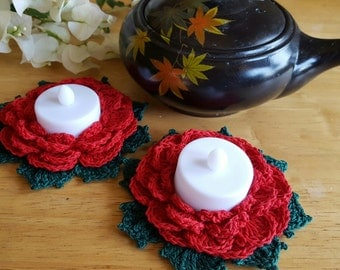 2 Crocheted blooming red rose candle holders - Tealight candles included!