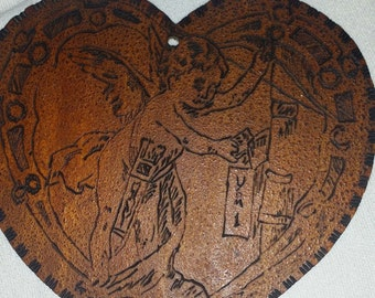 Wood Carved Cupid Heart
