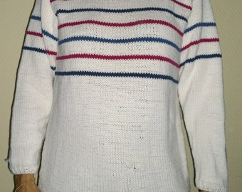 hand-knitted cotton marine style sweater