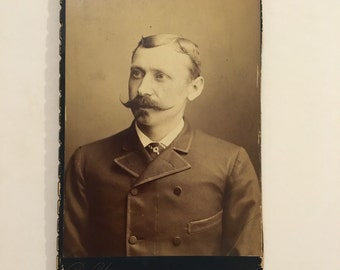 Cabinet Card of a Man with a Nice Mustache, 19th Century Antique Photograph