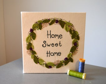 Home sweet home, freehand machine embroidered, box canvas//wall art//new home//housewarming gift//birthday gift//handmade//felt//sewn//