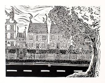 Tree Street (Linocut Print)