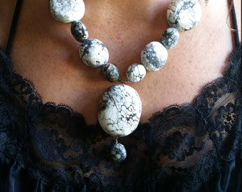 White turquoise drop necklace