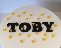 Personalised Edible Fondant Letters and Stars Cake Topper