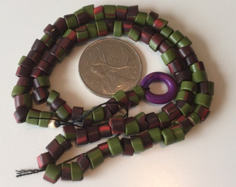 Green brown and red highlighted handmade polymer beads