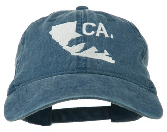 CA Map with Bear Embroidered Washed Cap