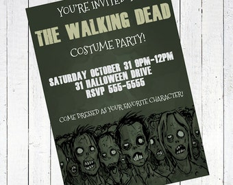 zombie invitation halloween party walking dead - Zombie Halloween Party Invitation
