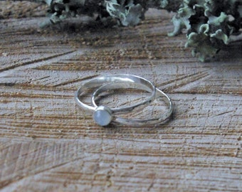 Hammered Stacking Rings // Sterling Silver // Moonstone // June Birthstone // Gifts For Her // Thank You Gift // Bridesmaids Gift
